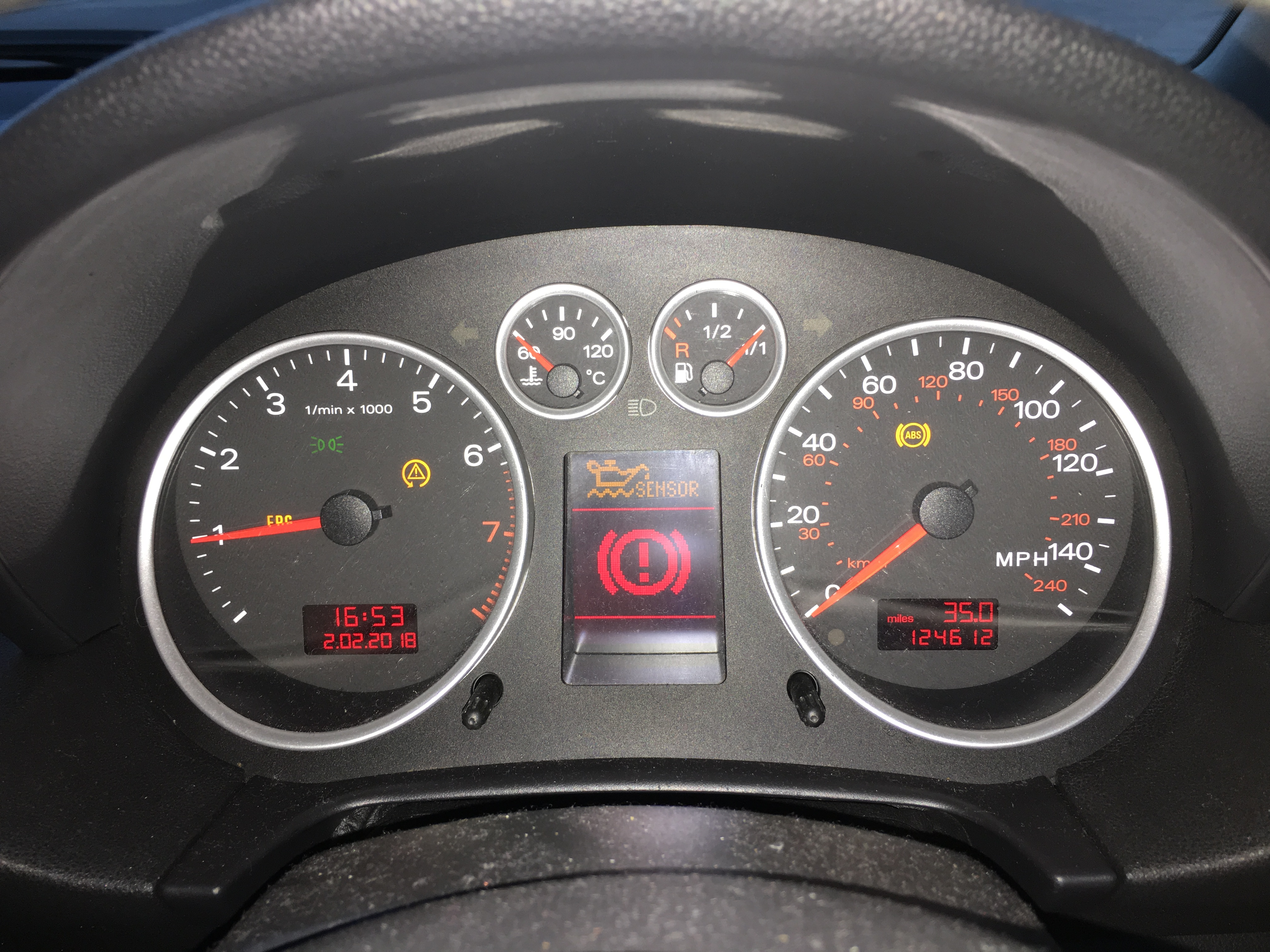 Full set of brake related warning lights | Audi A2 Owners' Club
